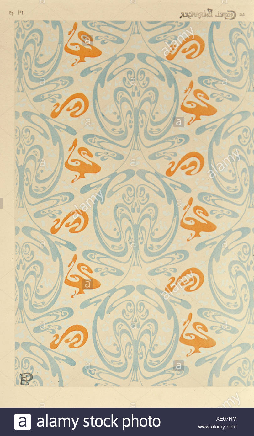 fine arts, Guimard, Hector (1867 - 1942), wallpaper, design for 'Castel Beranger' Paris, late 19th century, new collection, Munich, Germany, Artist's Copyright has not to be cleared - Stock Image
