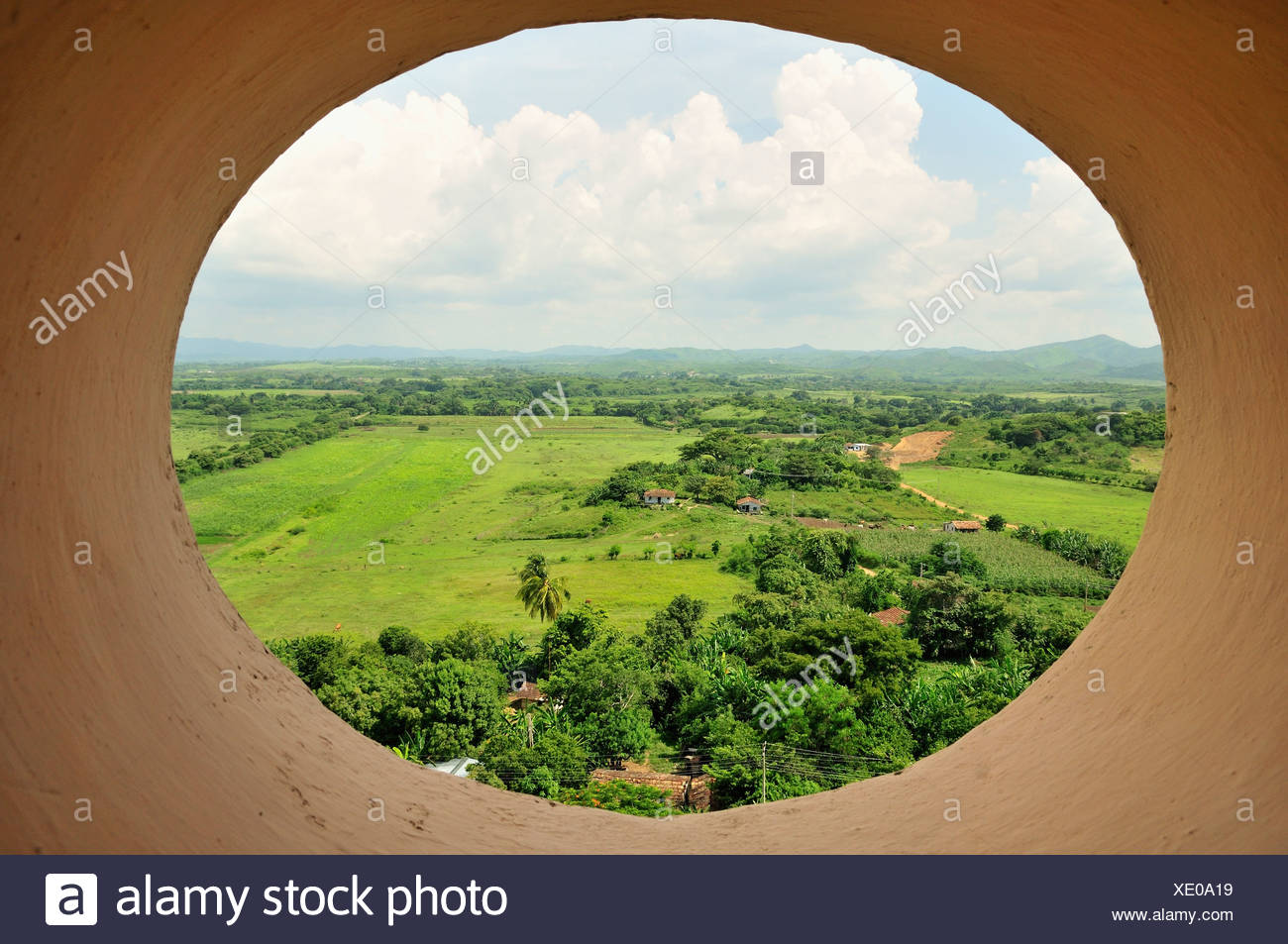 View from seven-storeyed Iznaga Tower, a 50 meters high slave tower, Valle de los Ingenios Valley, Valley of the Sugar Mills - Stock Image