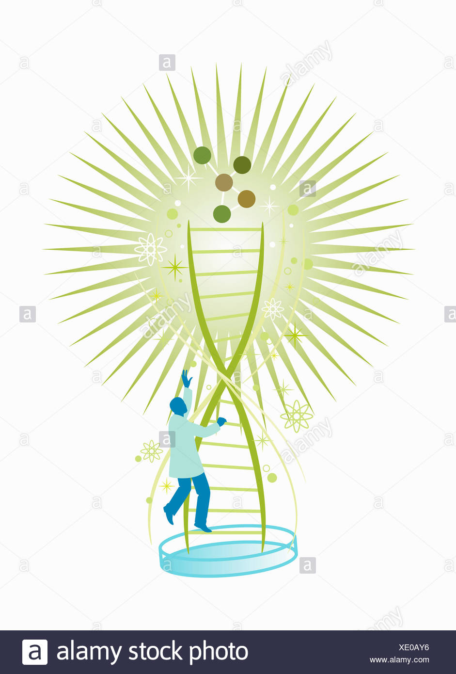 Scientist climbing double helix - Stock Image