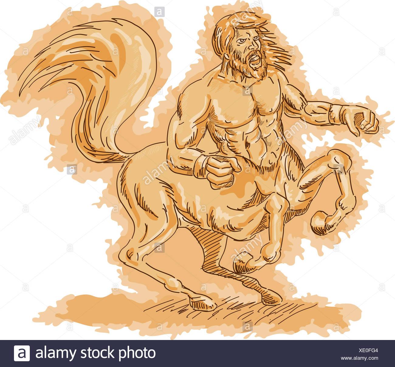 horse greek creature warrior myth legend mythology centaur horse greek - Stock Image
