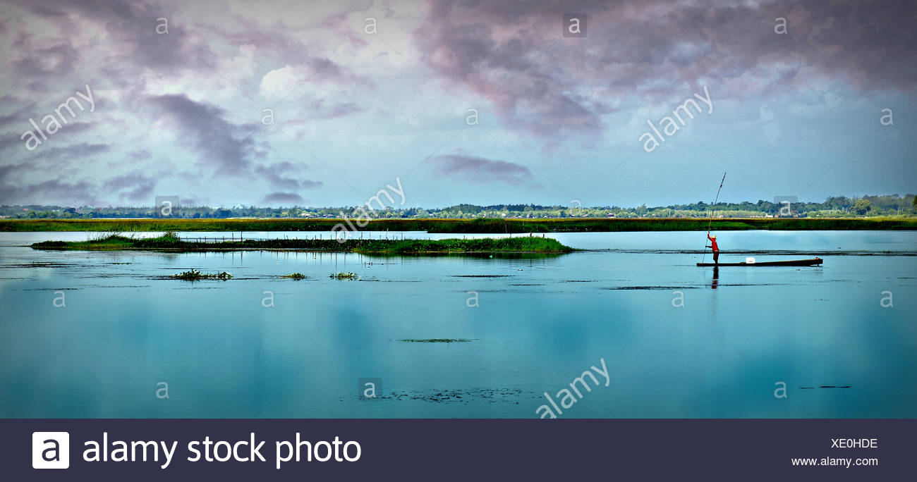 Thailand, Khon Kaen, Picture of man fishing - Stock Image