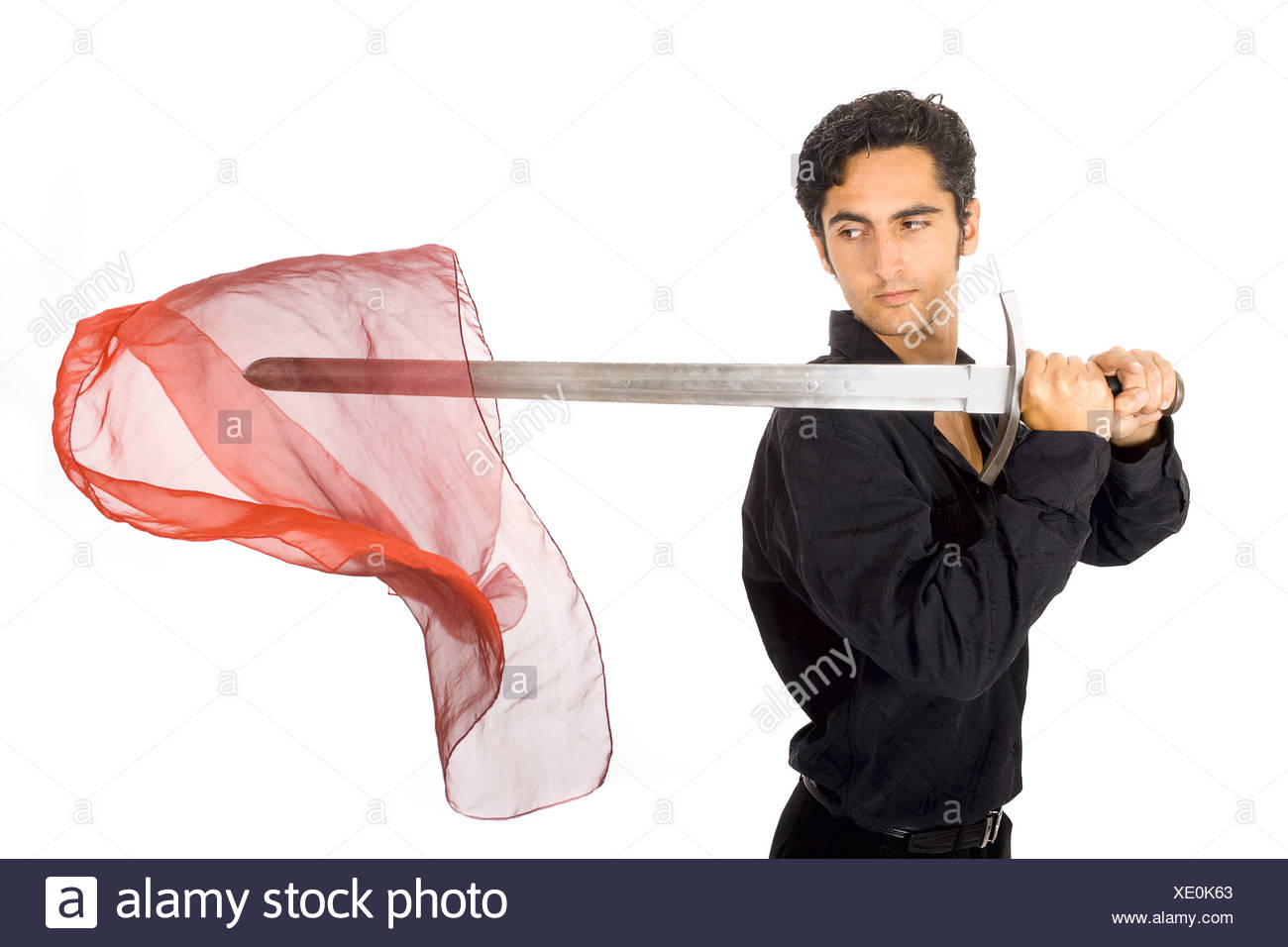 Man with sword and neckerchief - Stock Image