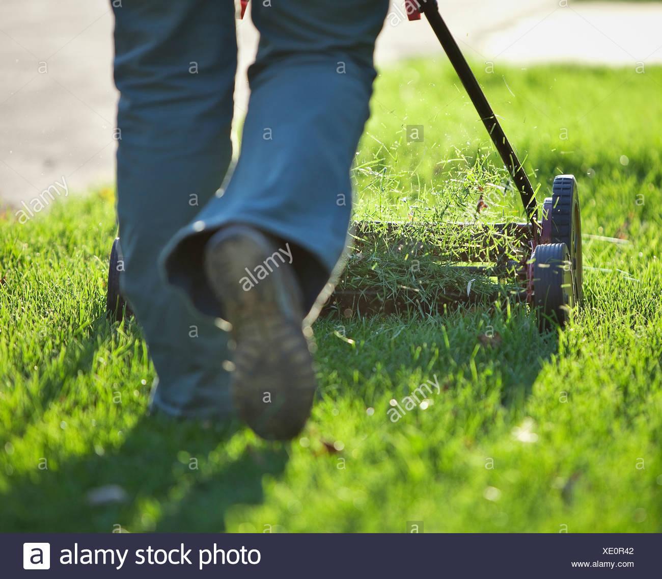Woman cutting grass with environmentally friendly lawn mower. Winnipeg, Manitoba, Canada. - Stock Image