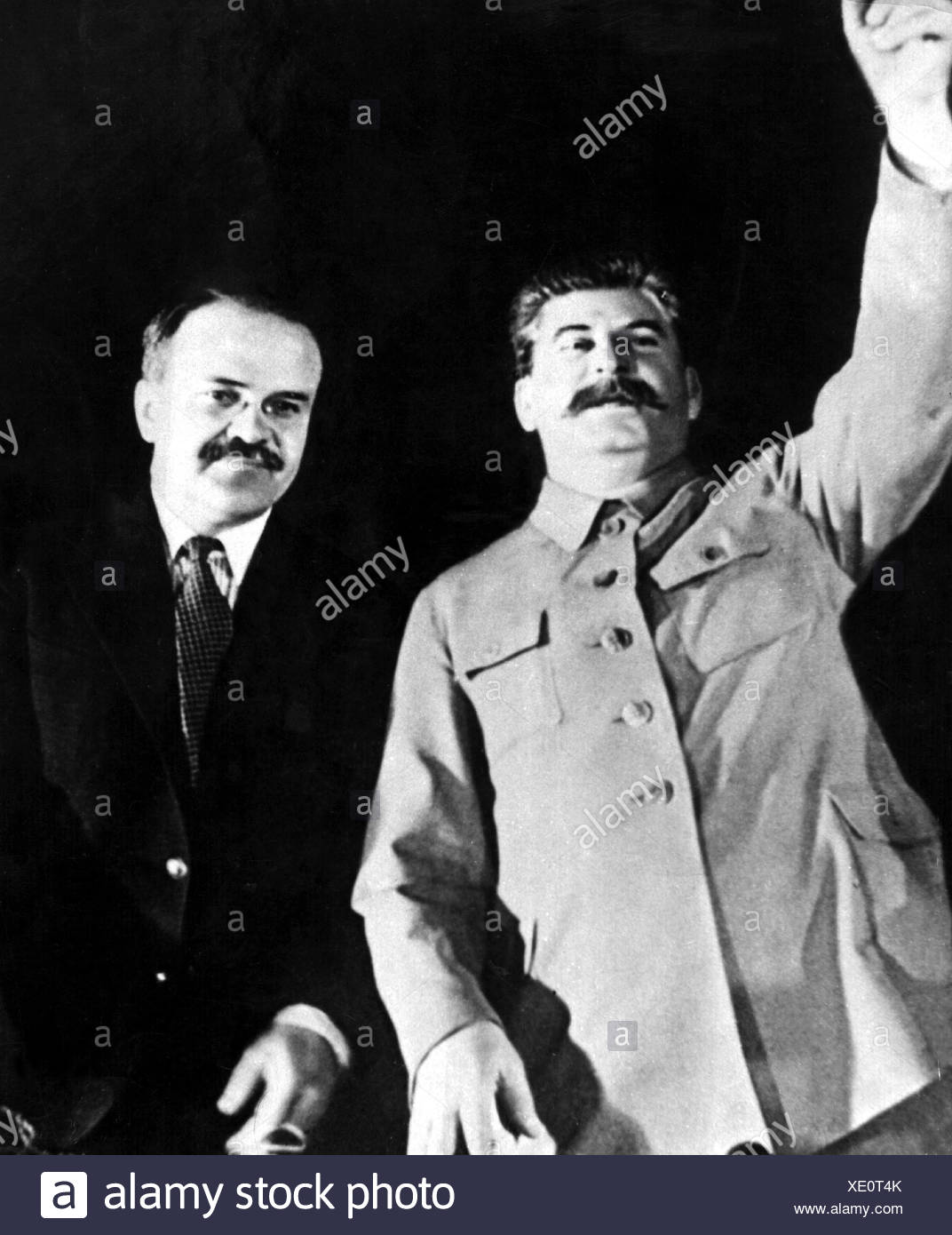 Stalin, Joseph Vissarionovich, 18.12.1879 - 5.3.1953, Soviet statesman, General Secretary of the Communist Party of the Soviet Union 1922 - 1953, with Vyacheslav Molotov, Chairman of the Council of People's Commissars, 1935, half length, Additional-Rights-Clearances-NA - Stock Image
