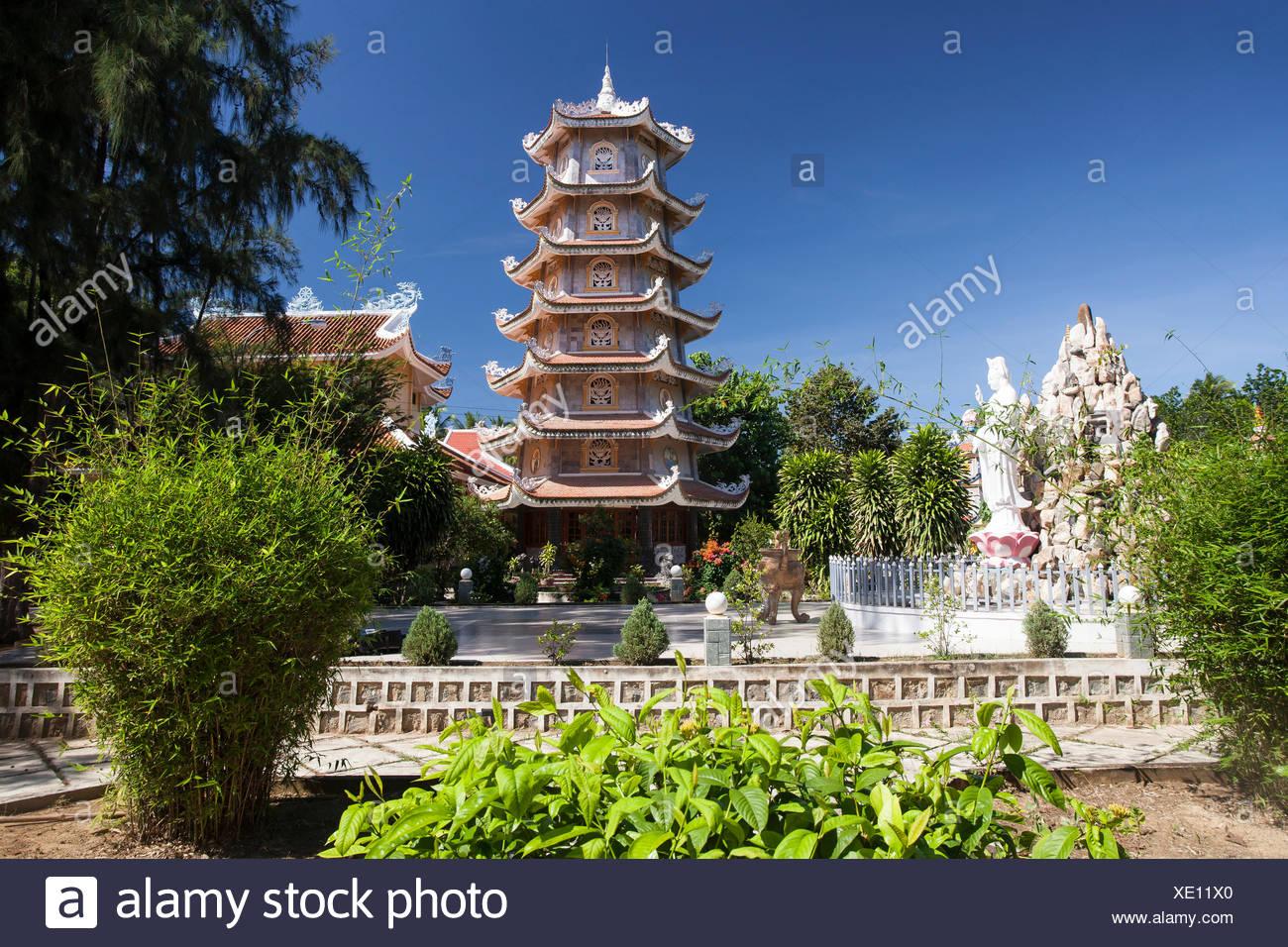 Dieu, An, Thap, Cham, Phan, Rang, Ninh, Rang, outside, pagoda, pagoda tower, place of interest, day, traditional, tower, Vietnam, Stock Photo