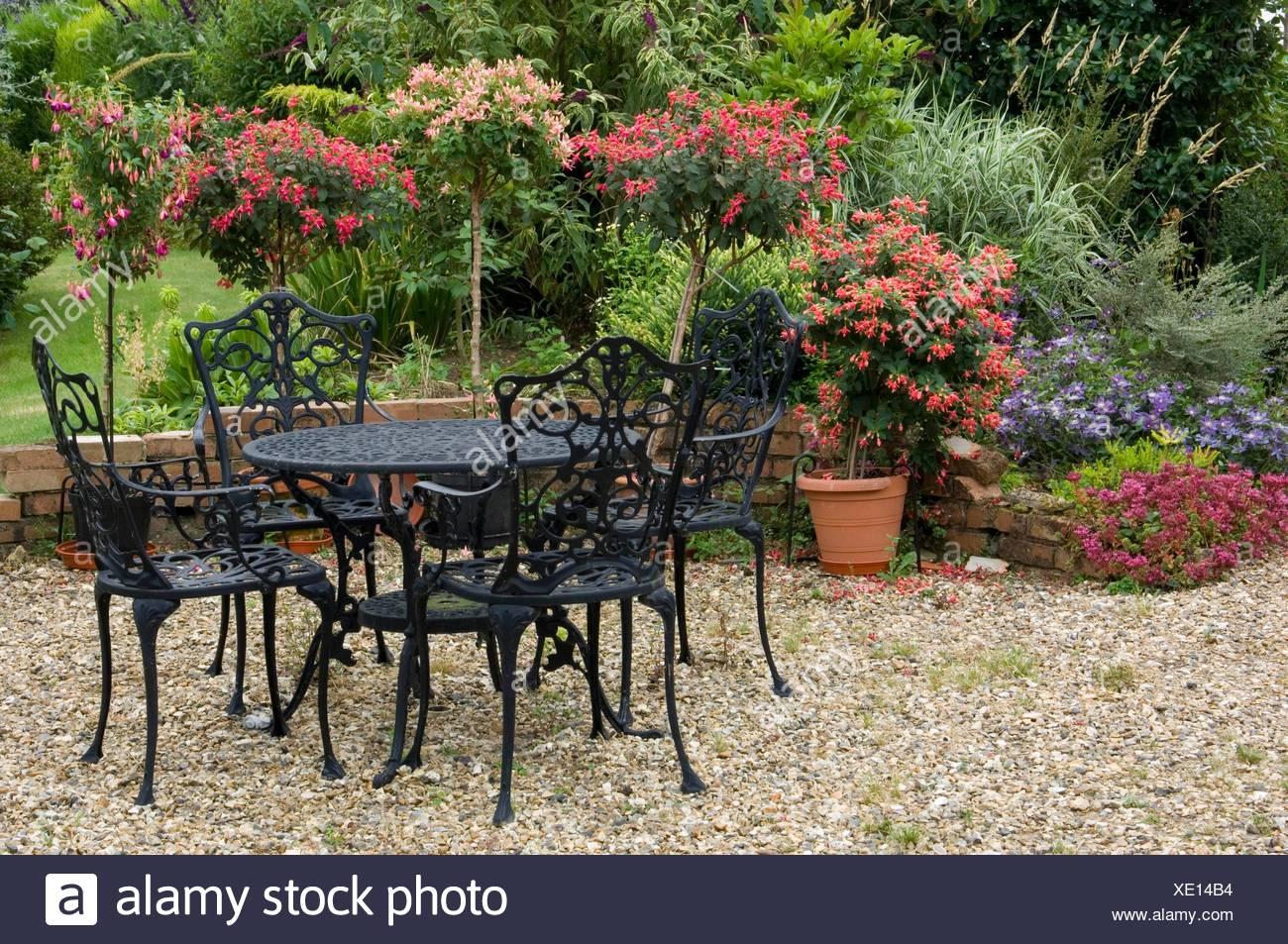 Furniture    Cast Iron Furniture On Patio  With Standard Fushsias MIW252049  Photos Horticultur