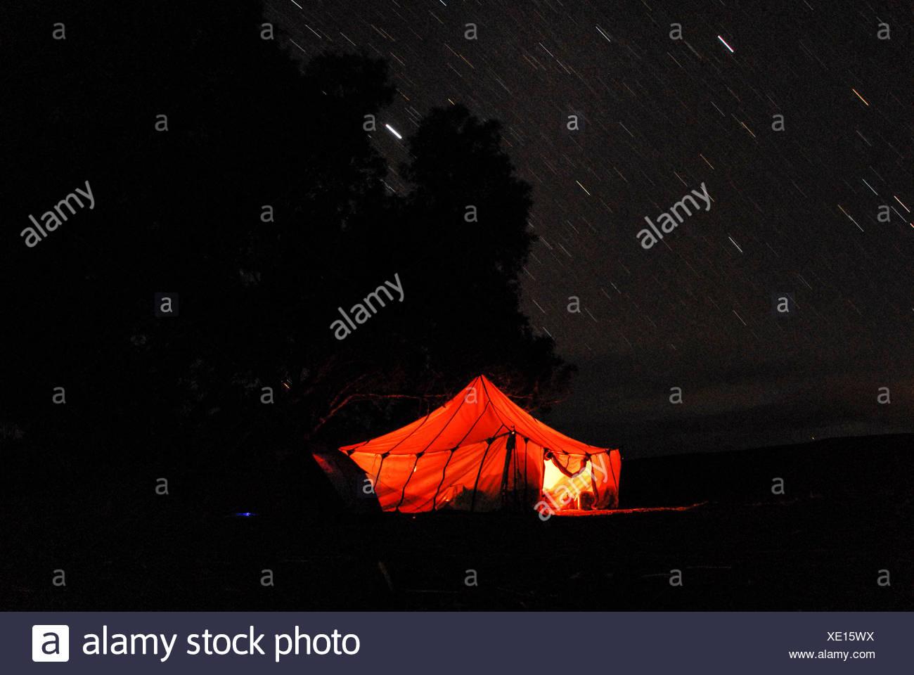 Berber tent , at nighttime, in the Sahara desert - Stock Image