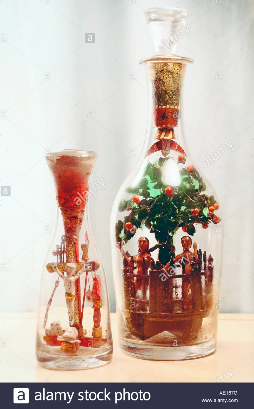 fine arts, folk art, impossible bottles with the Fall of Man and Crucifixion, glass, Switzerland, 19th century, Swiss museum for folklore, Basel, Artist's Copyright has not to be cleared - Stock Image