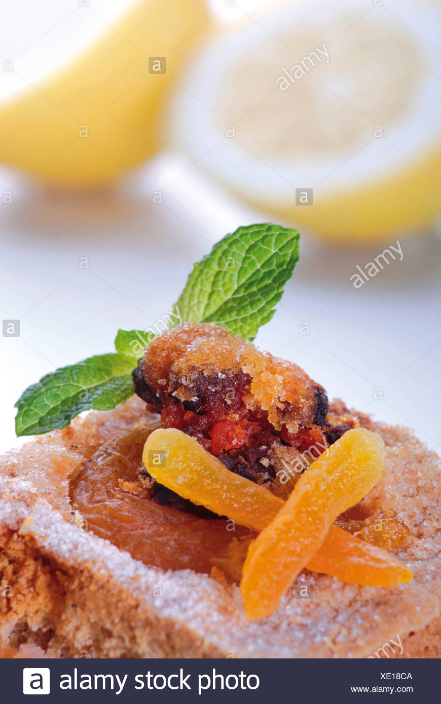 Apricot cake with roasted bacon rind - Stock Image