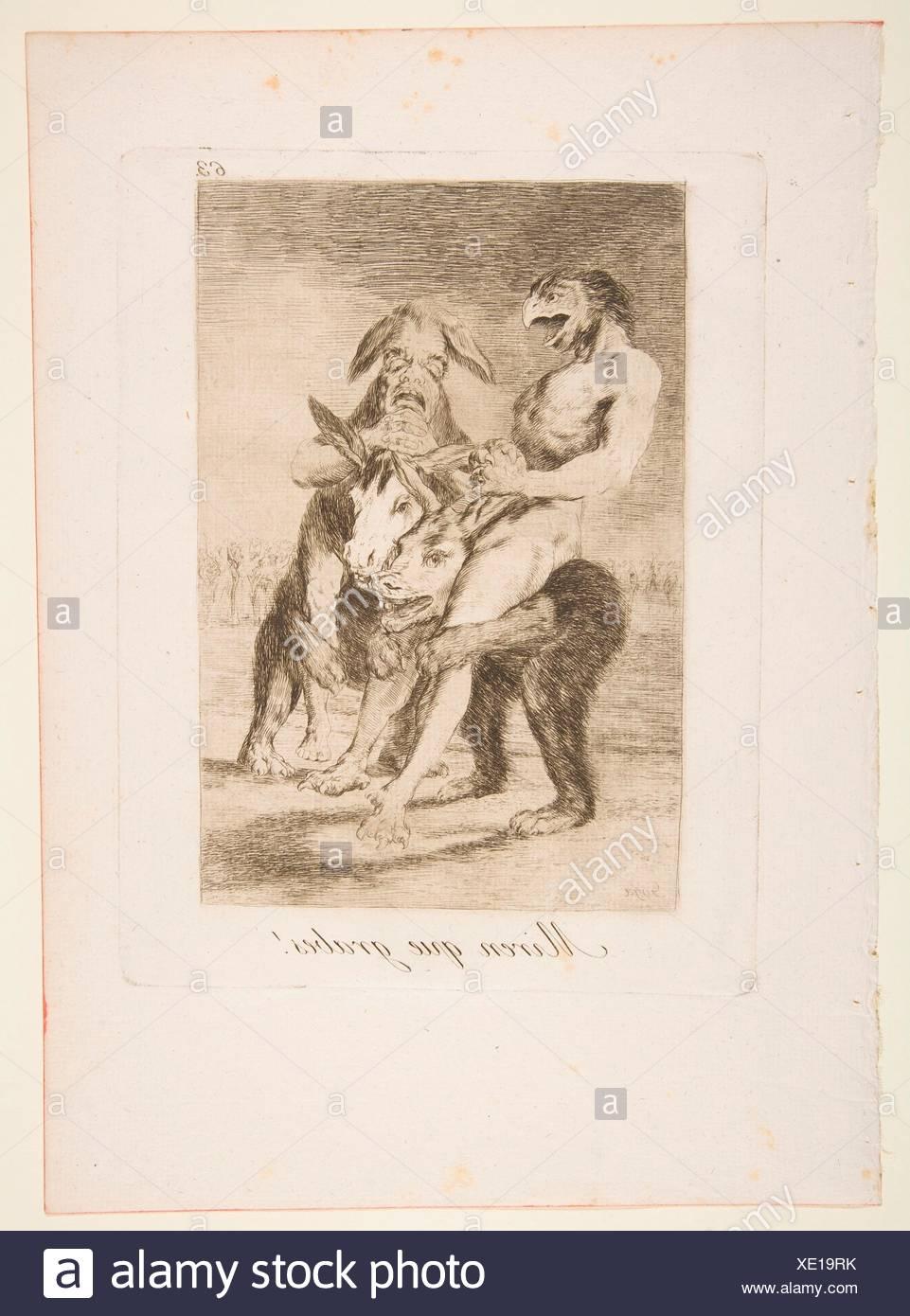 Plate 63 from 'Los Caprichos': Look how solemn they are! (Miren que grabes!). Series/Portfolio: Los Caprichos; Artist: Goya (Francisco de Goya y - Stock Image