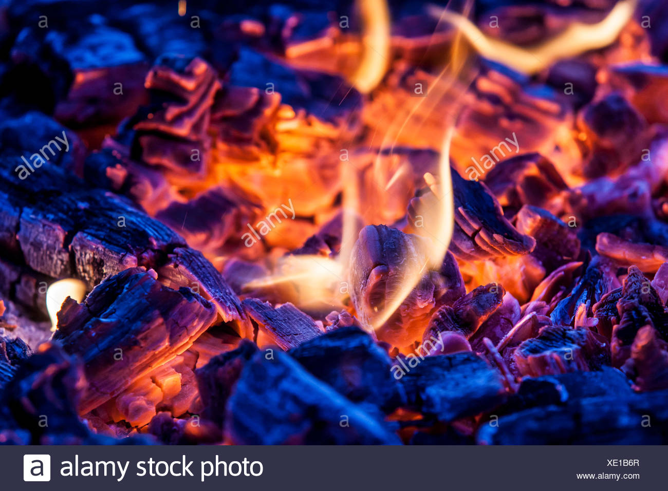 glowing grill charcoal - Stock Image