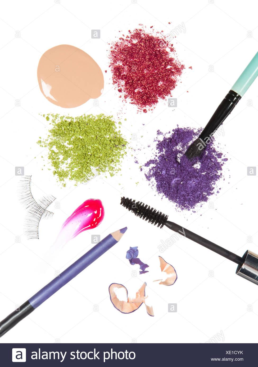 Multi coloured make-up utensils - Stock Image