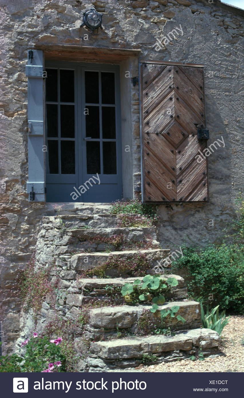 Traditional Provencal House Wooden Shutters Stock Photos