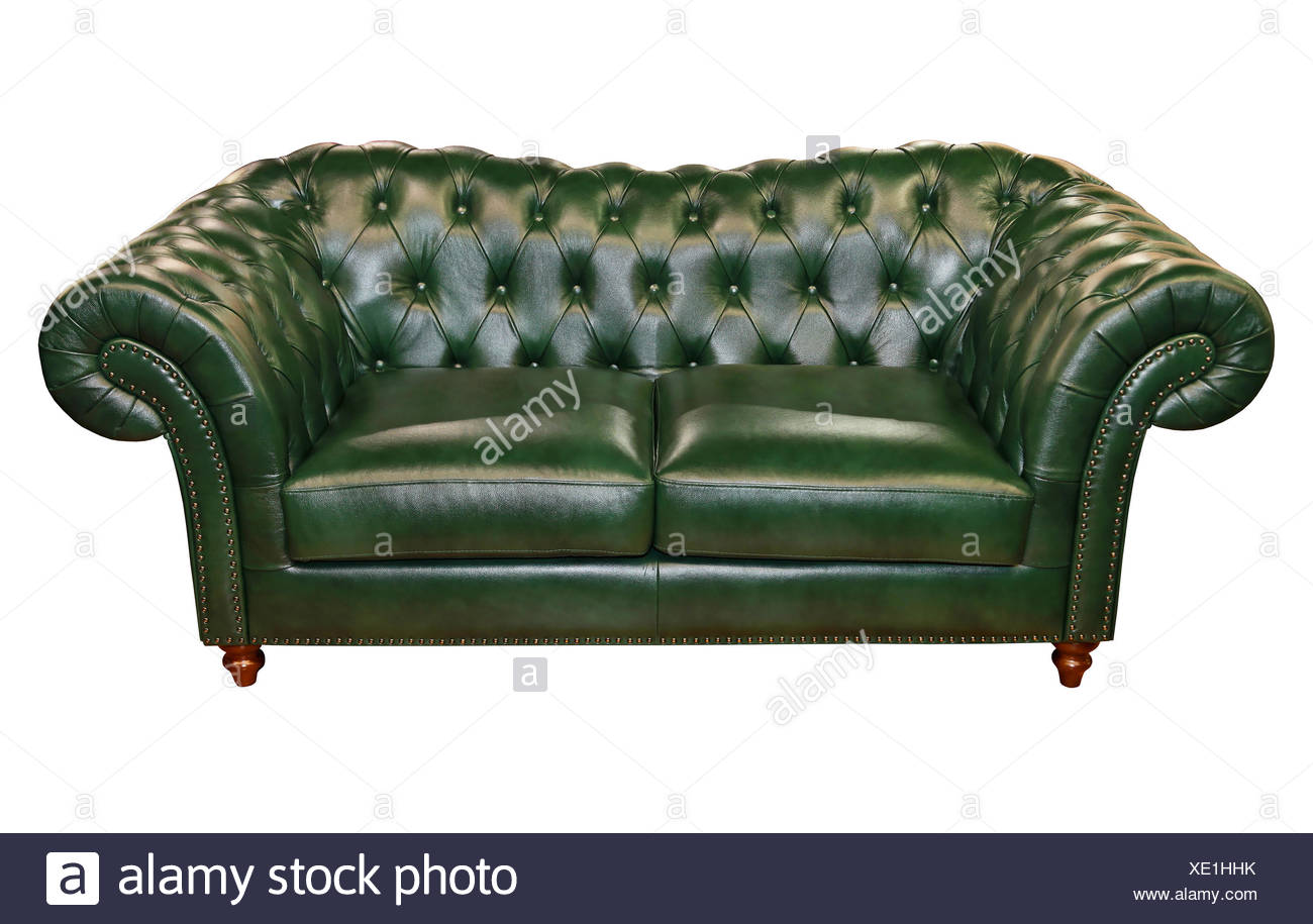 Green leather sofa isolated included clipping path Stock Photo ...
