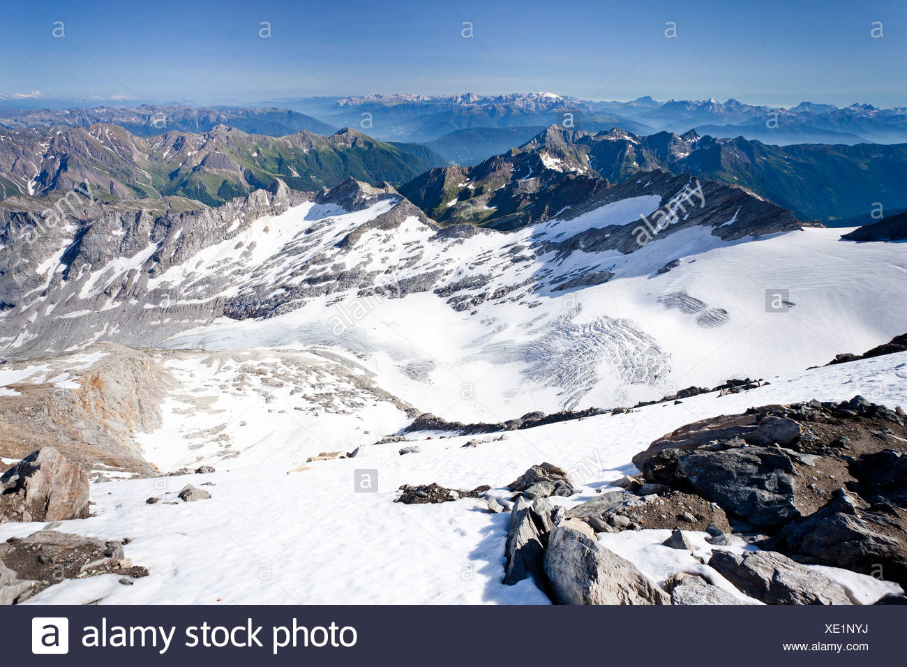 View from Hochfeiler Mountain, Pfitschertal, looking over Pfitschertal Valley, Valle Isarco and Wipptal and the Dolomites Stock Photo