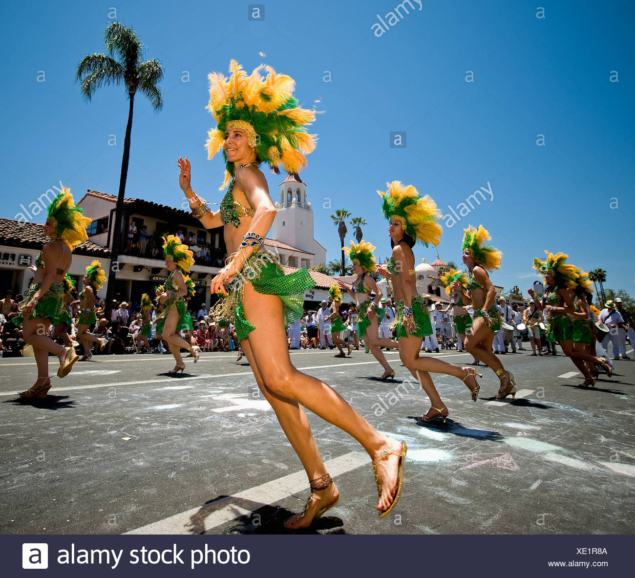 f0a880b613b Characters and dancers participate in the annual Santa Barbara Solstice  Parade. - Stock Image