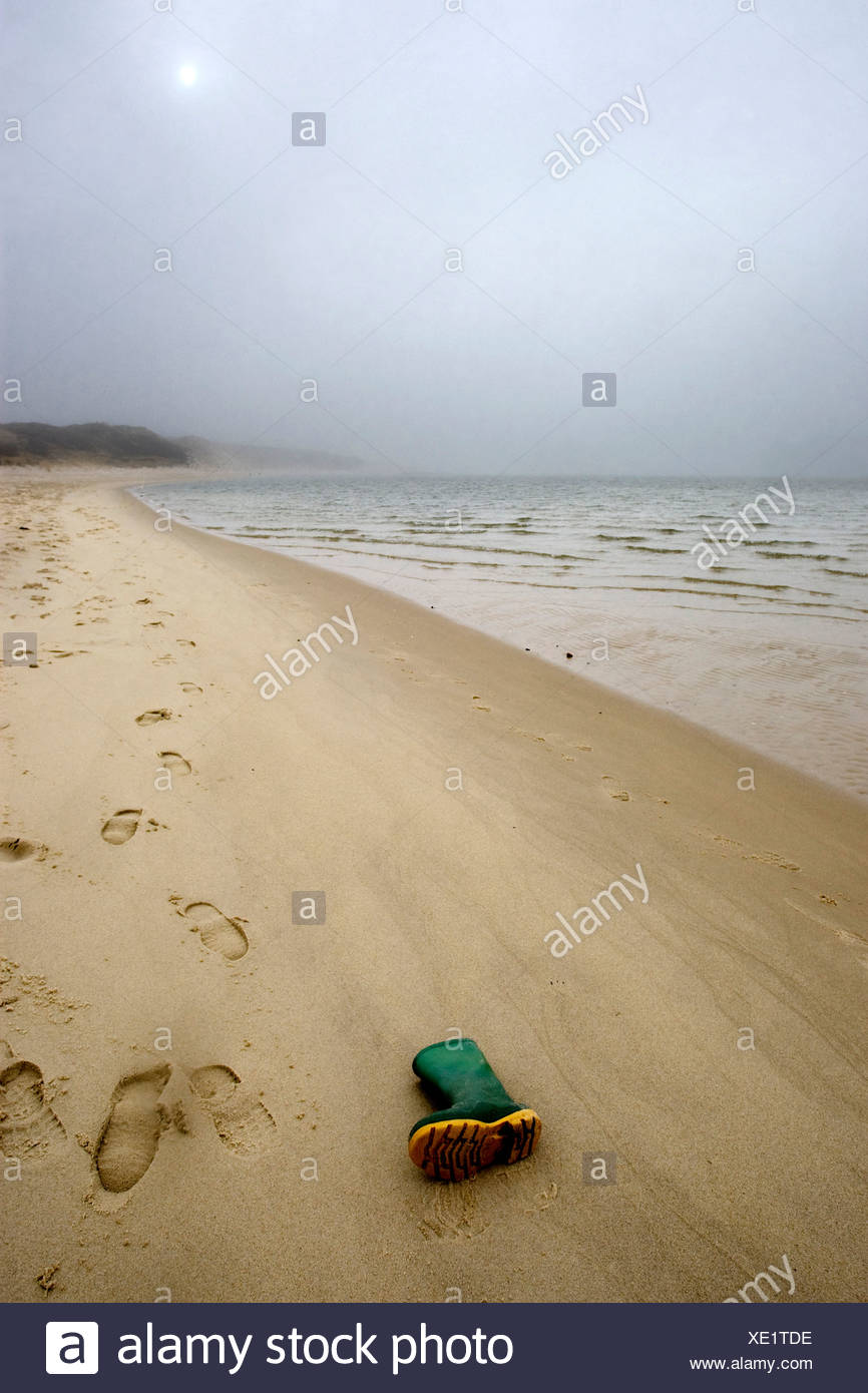 Rubber boot at beach, Sylt, Schleswig-Holstein, Germany Stock Photo
