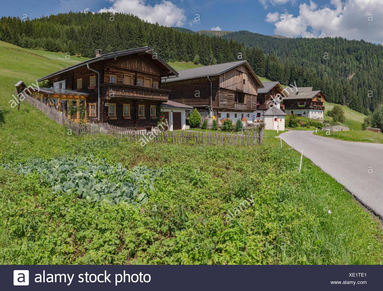 Kosten,Austria,Farmhouses along the Pustertaler Höhenstrasse - Stock Image