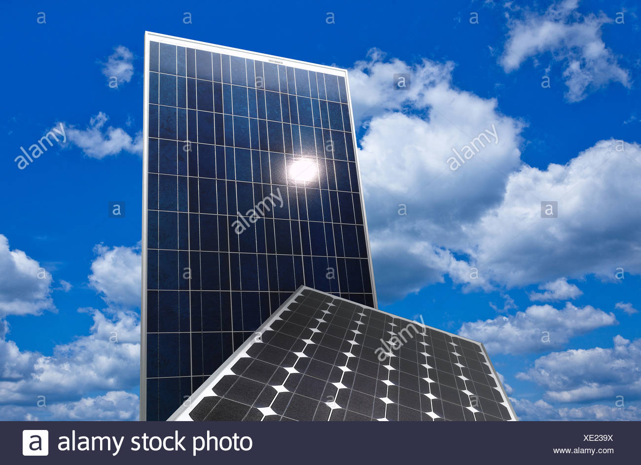 Berlin, Germany, photovoltaic system before cloudy sky - Stock Image