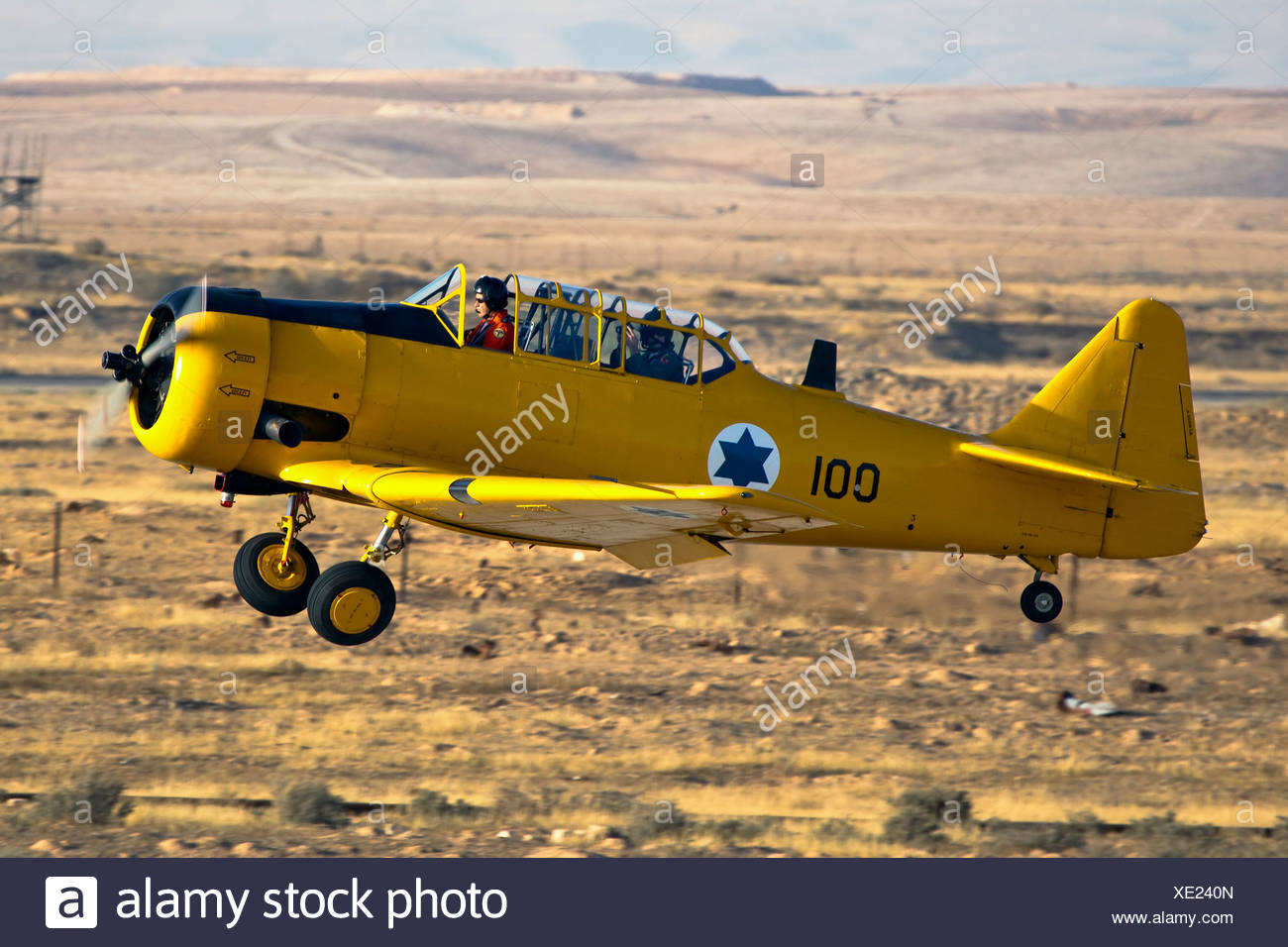 Israeli Air force North American Aviation T-6 Texan single-engine advanced trainer aircraft in flight - Stock Image