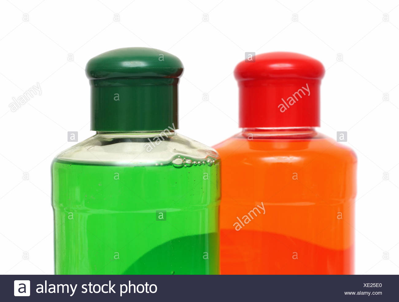 two bottles with shampoo - Stock Image