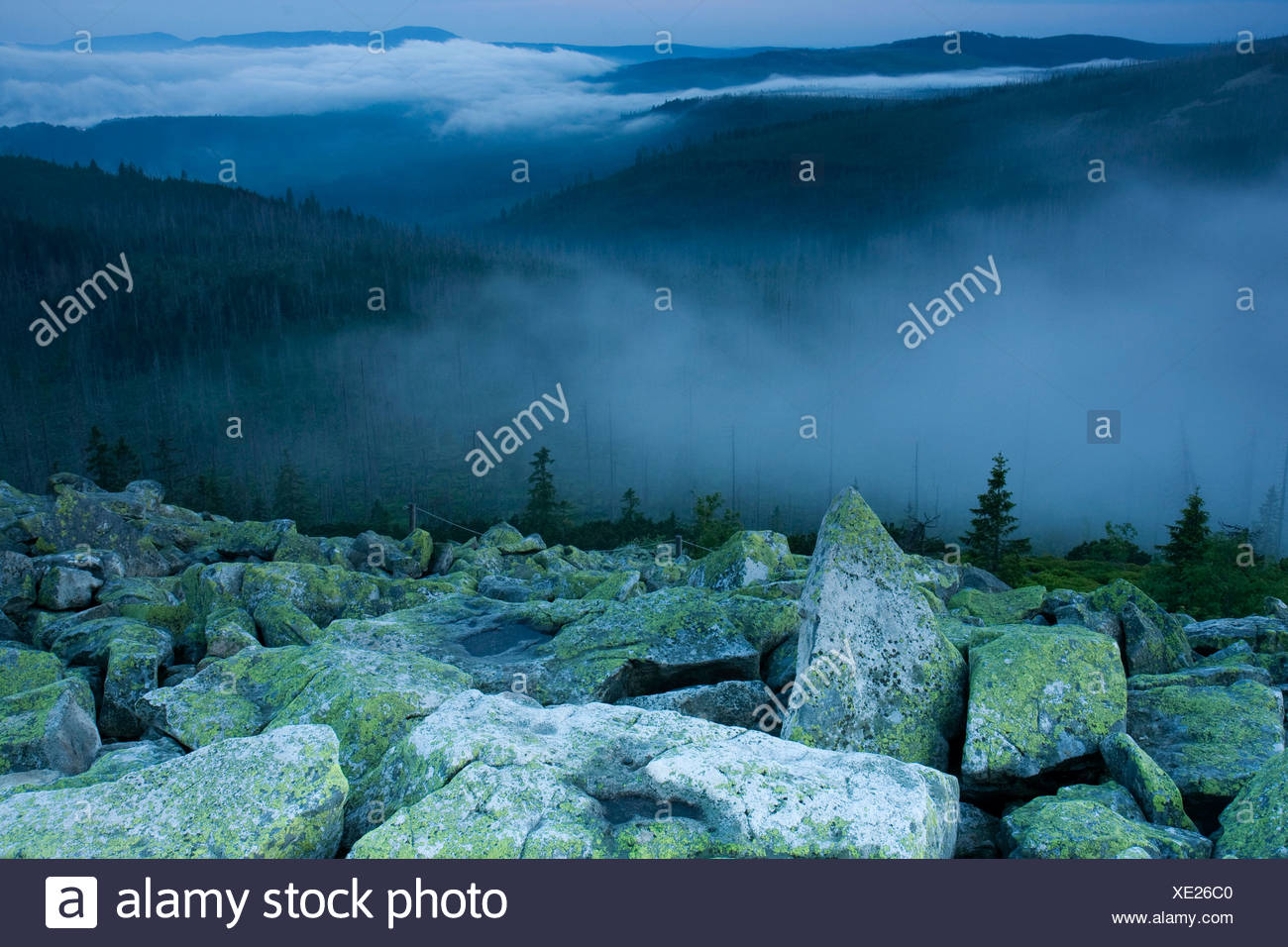 Cloudy atmosphere on Mt Lusengipfel, Bavarian Forest National Park, Bavaria, Germany, Europe Stock Photo