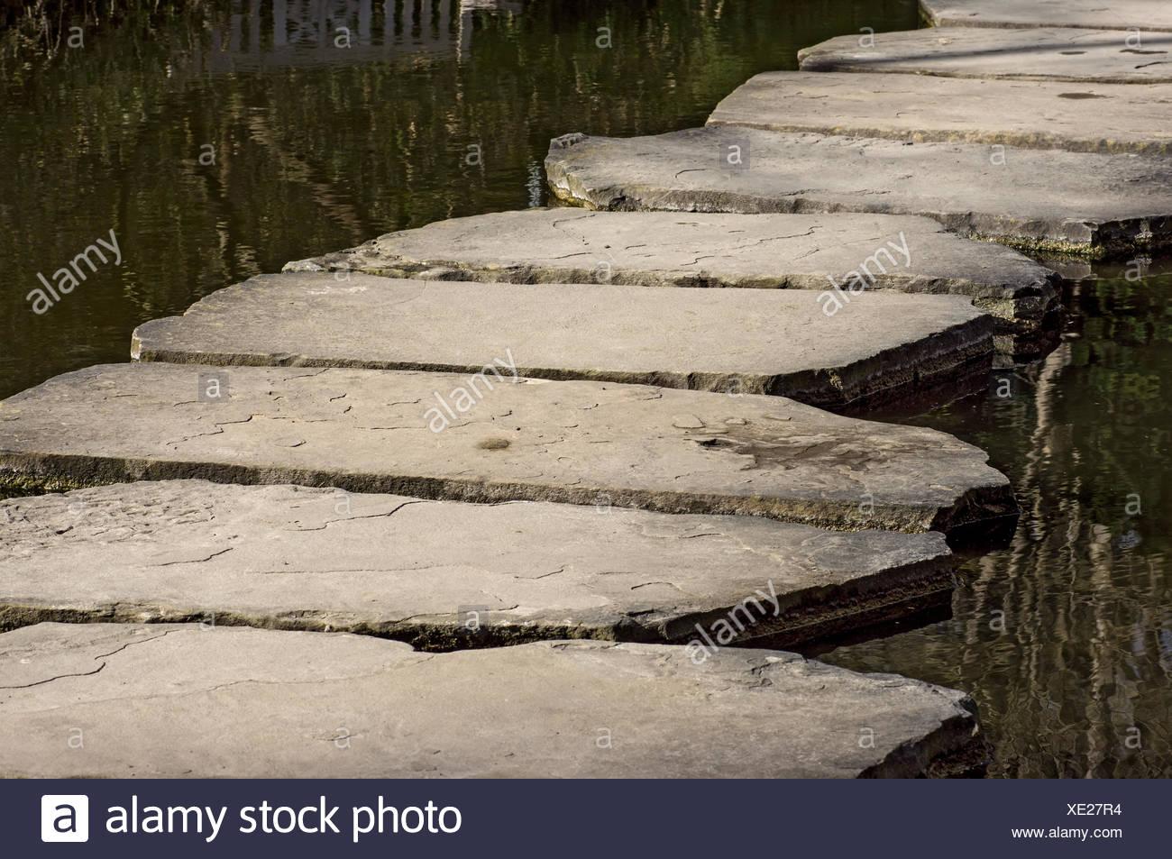 Stony way across water Stock Photo