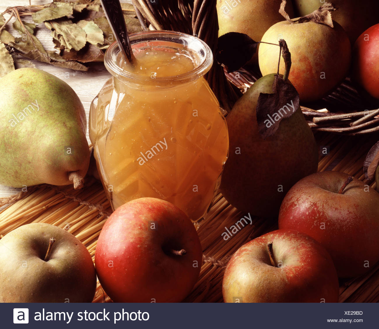 Jar of marmalade with pip fruit Stock Photo