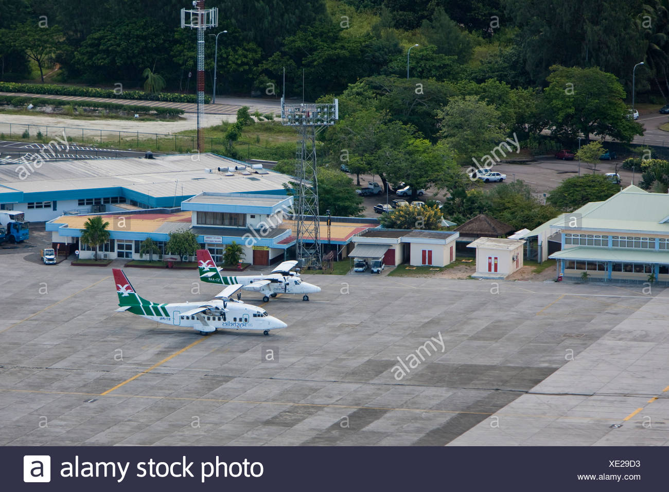 Aircrafts of Air Seychelles for domestic flights, airport of Mahe, Mahe Island, Seychelles, Indian Ozen, Africa - Stock Image