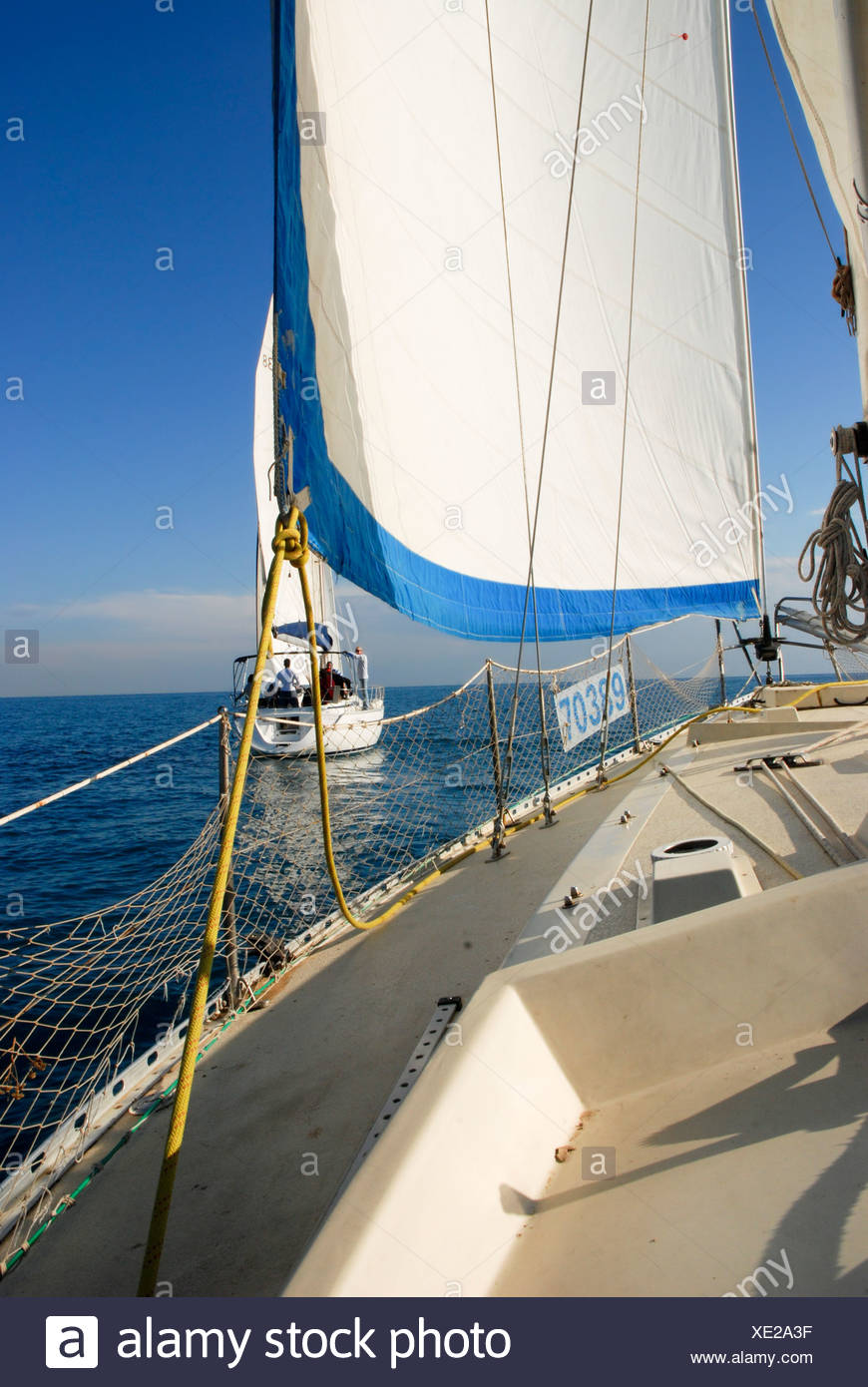 Sails of a yacht - Stock Image