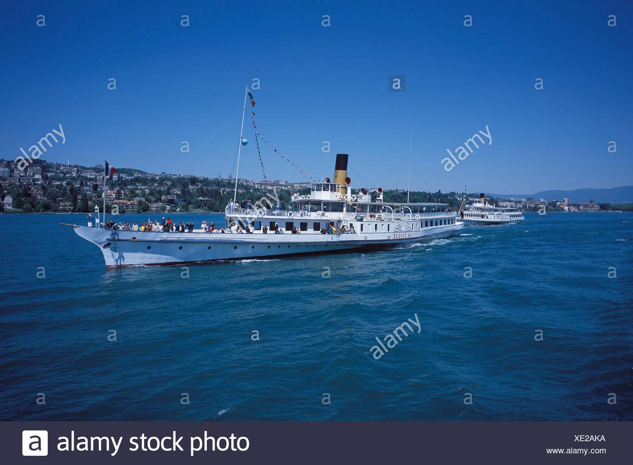 Ships, ship, C.G.N, paddle steamer, steamboat, summer, blue, Lac Léman, lake Geneva, lake, ship, ships, ship, Switzerland, Europ - Stock Image