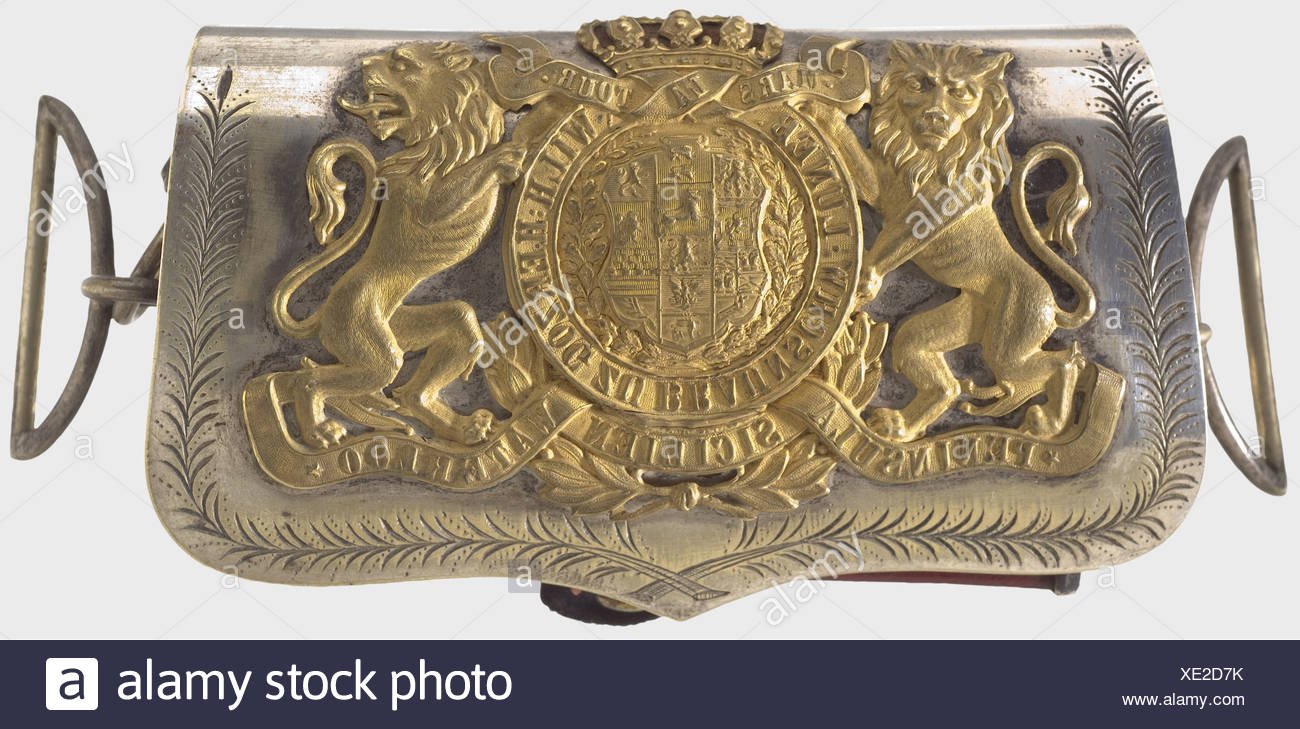 A ponch for officers, after 1873, of the Brunswick Hussar's Regiment No. 17 Box covered with red Morocco leather. Lid of silver-plated brass, bearing the gilded Brunswick coat of arms surrounded by a scroll reading, 'Peninsula - Sicilien - Waterloo - Mars la Tour'. The sides are also silver-plated. Lion heads as strap fasteners. Traces of use., historic, historical, 19th century, Braunschweig, Brunswick, German, Germany, Northern Germany, the North of Germany, object, objects, stills, clipping, cut out, cut-out, cut-outs, fine arts, art, art object, art objects, Additional-Rights-Clearences-NA - Stock Image