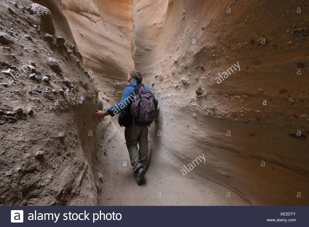 USA, California, Anza-Borrego Desert State Park, Hiker Walking Through Palm Canyon Slot Canyon - Stock Image