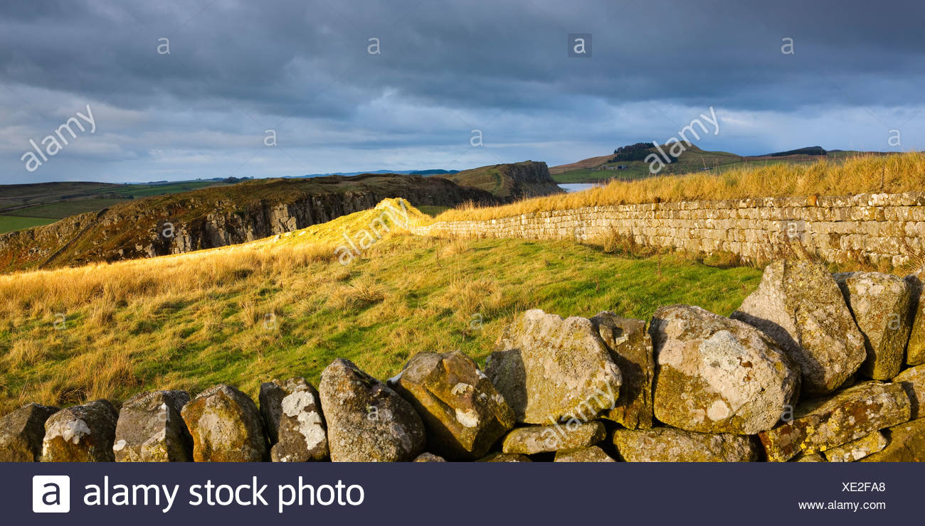 Steel Rigg on a fortified wall, Hadrians Wall, Northumberland National Park, Northumberland, England - Stock Image
