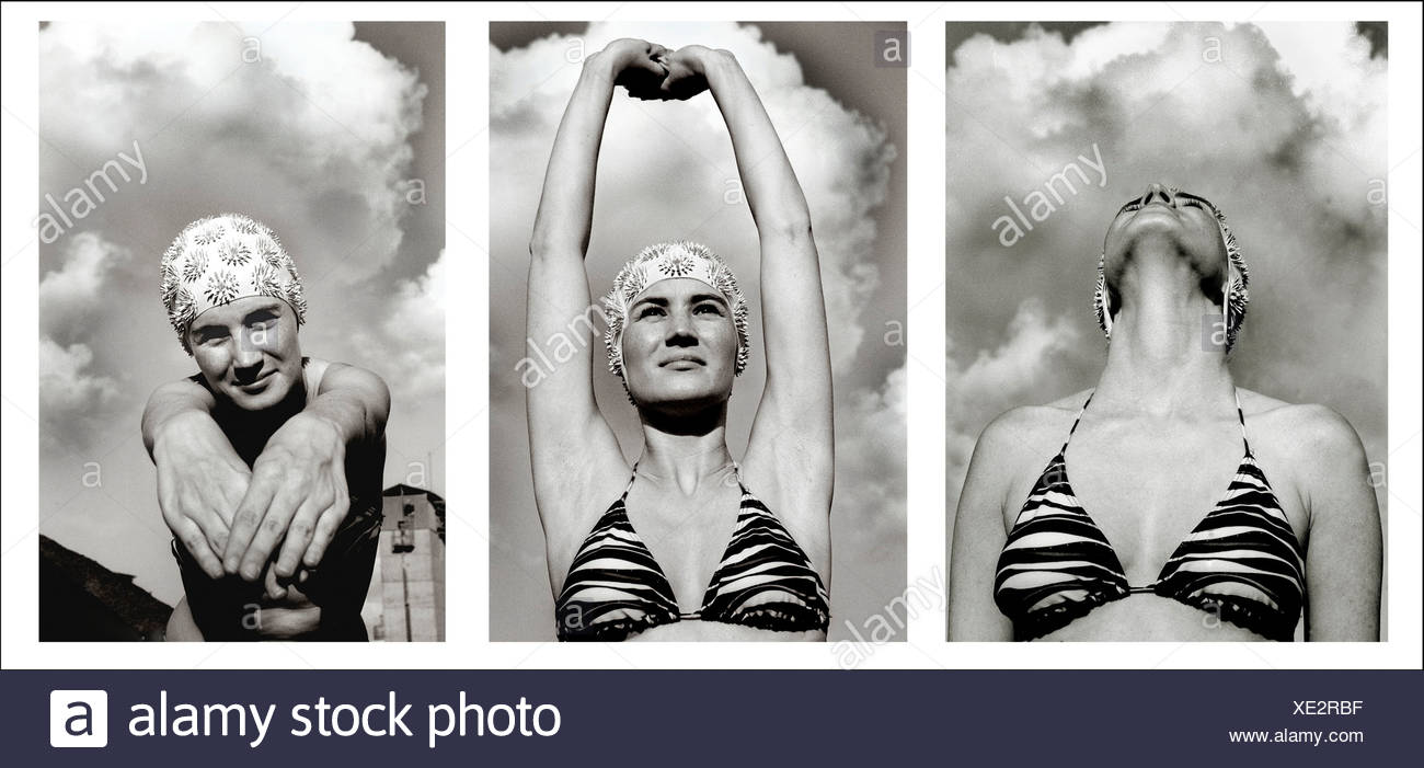 Three images of a young woman wearing a bathing costume and swim hat - Stock Image