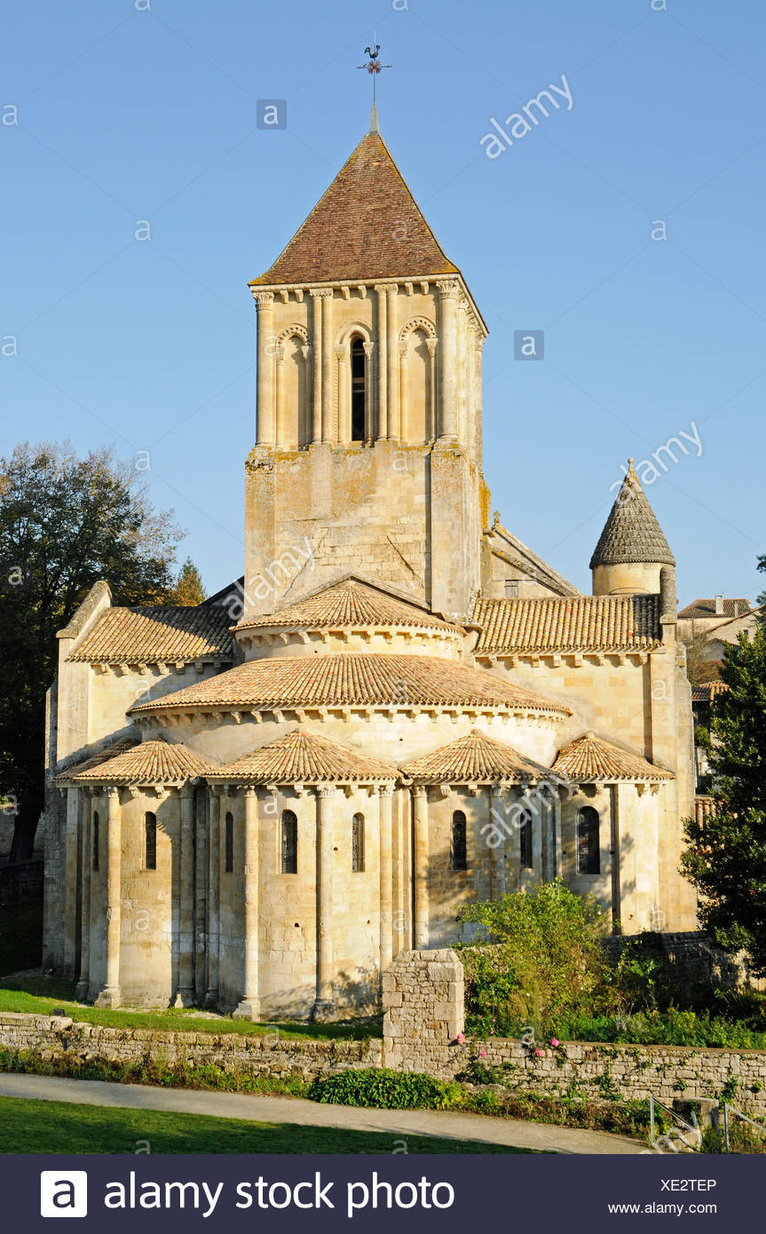 Eglise Saint Hilaire church, French Way, Way of St James, Melle, Poitiers, Department of Deux-Sevres, Poitou-Charentes, France - Stock Image