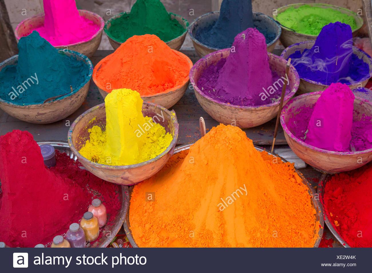 Market, Pushkar, Rajasthan, Asia, India, spices, colorful, Food - Stock Image