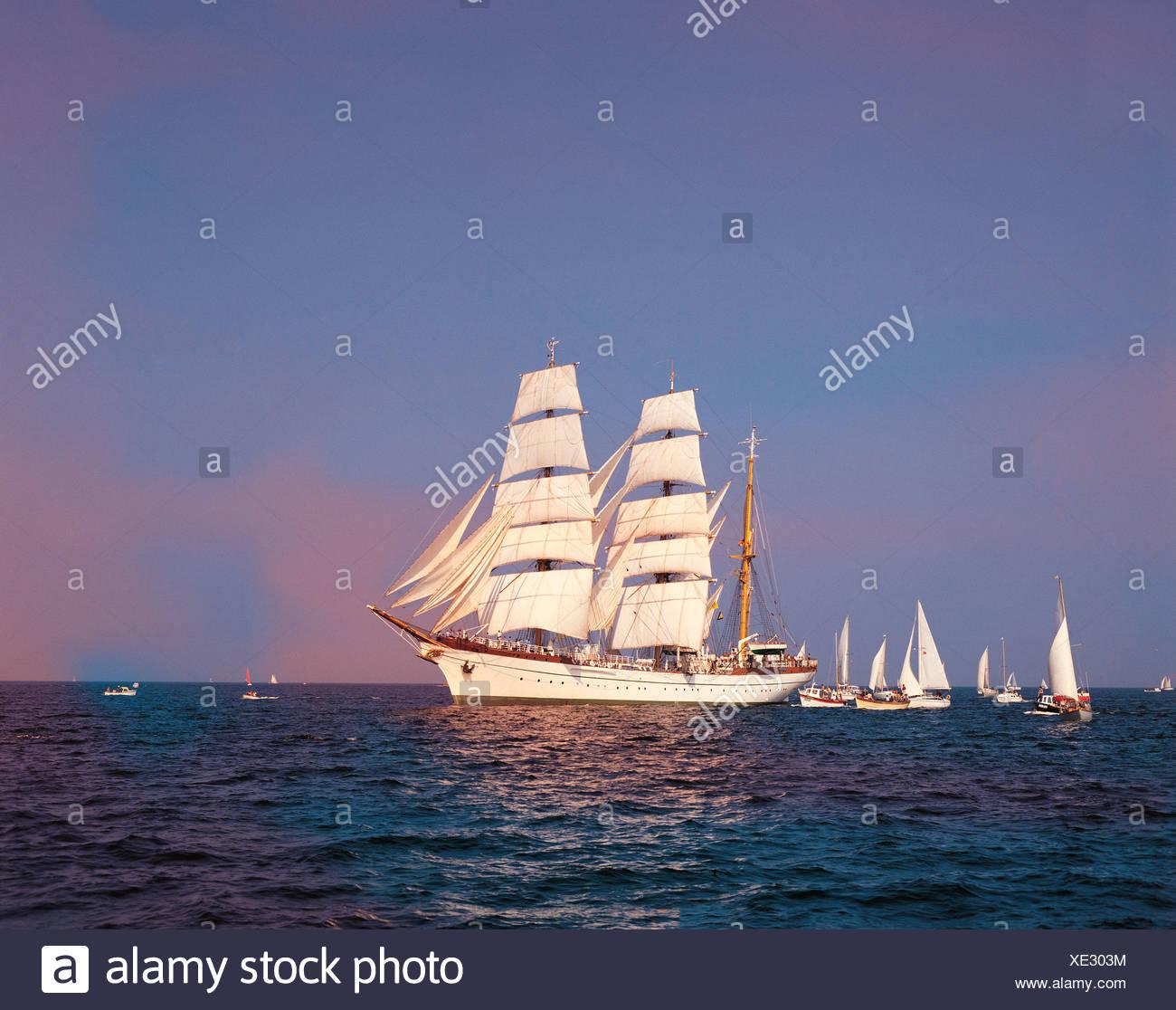 Transport, Tall Ship, Historic Sailing Barque, `Gorch Fock', - Stock Image