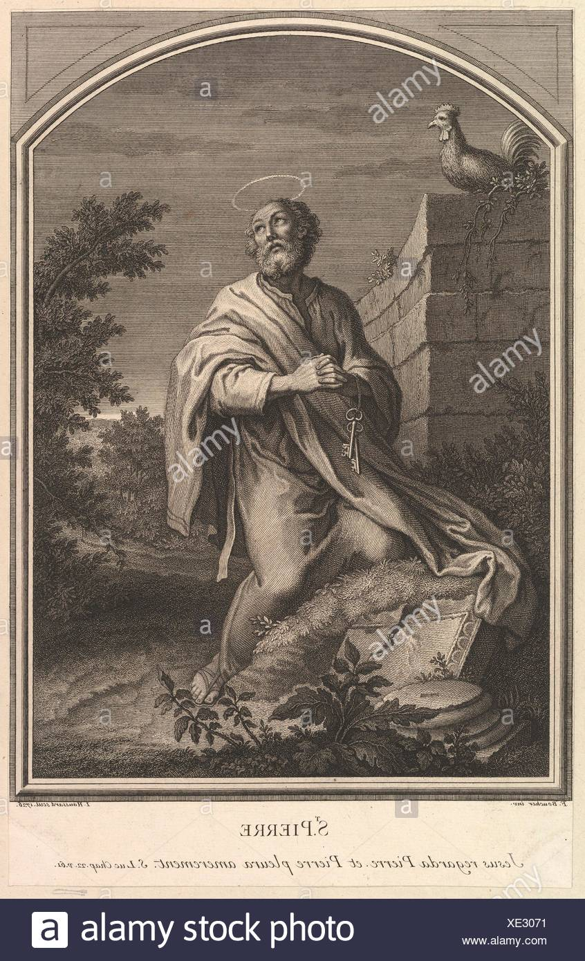 Saint Pierre. Artist: Jean-Baptiste Haussard (French, Paris 1679 or 1680-1749 Paris); Artist: After François Boucher (French, Paris 1703-1770 Paris); Stock Photo