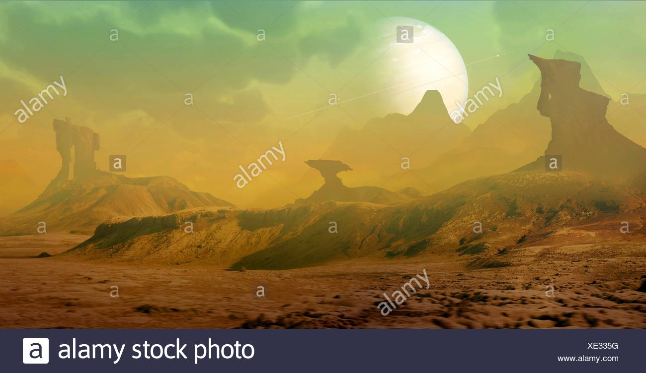 Artwork of an alien landscape. View from the surface of a rocky moon orbiting a gas-giant exoplanet. The planet is encircled by a series of rings, similar to Saturn in our own Solar System. The moon (landscape) is depicted as rocky, with strange rock formations sculpted by alien wind patterns. The sky is a very odd green colour. Astronomers have found well over a thousand extrasolar planets in the Milky Way. - Stock Image