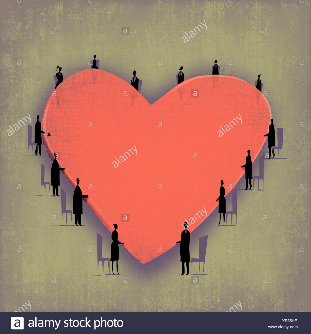 Businesspeople standing around heart shape board room table - Stock Image