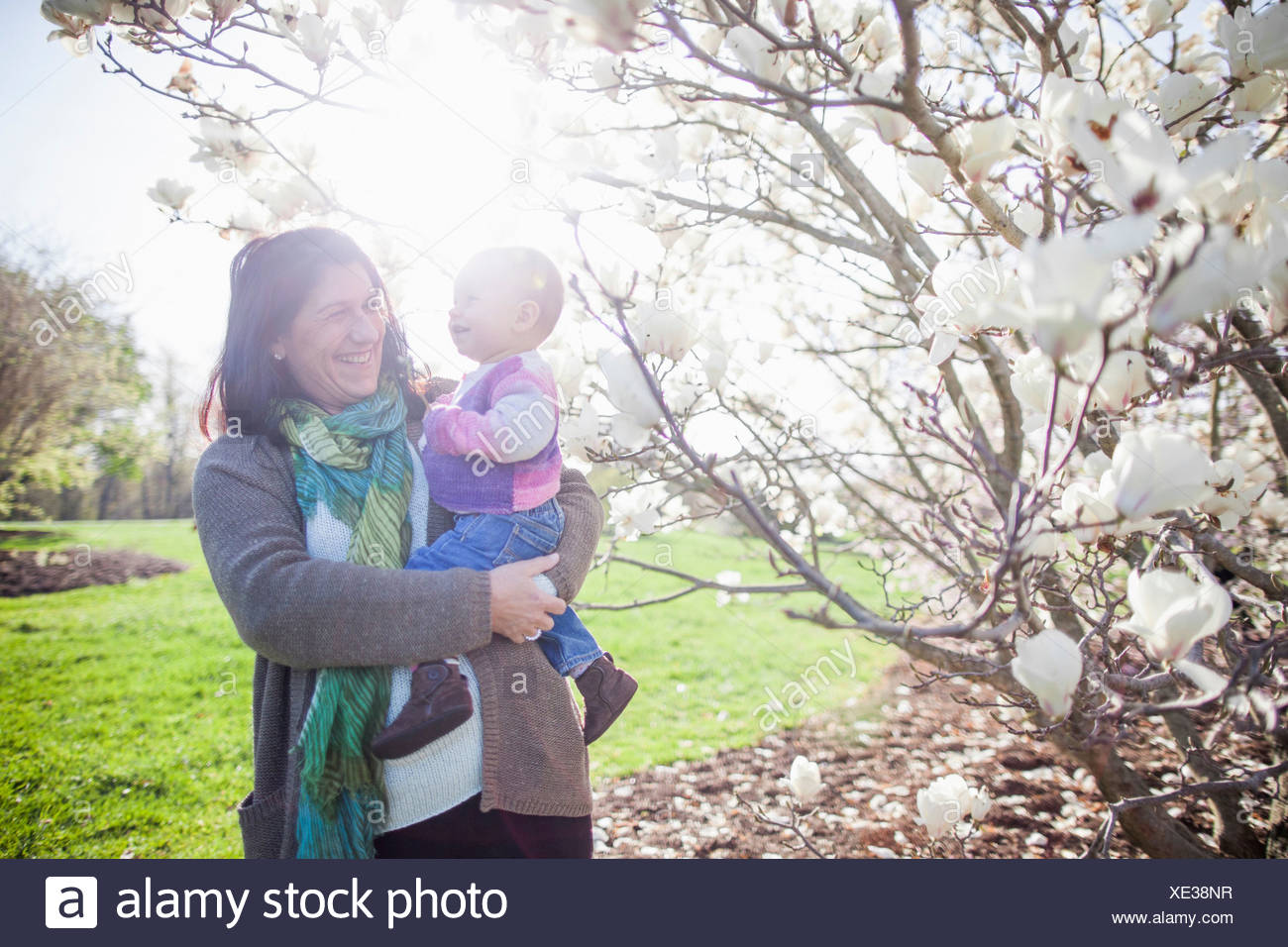 Portrait of baby girl and grandmother next to magnolia blossom - Stock Image