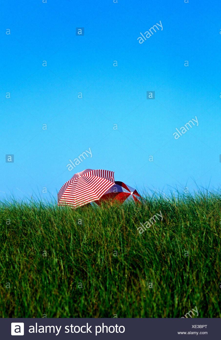 Intimate beach umbrellas dune grass and sky Cape Cod National Seashore - Stock Image