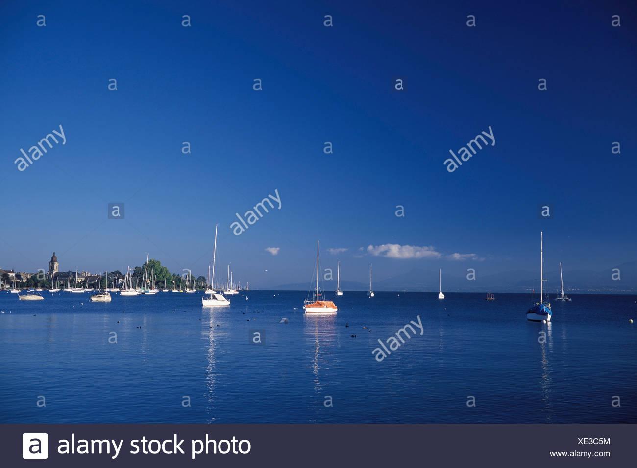 Vaud, harbour, port, scenery, ship, ships, ship, Morges, Switzerland, Europe, lake, Lac Léman, lake Geneva, blue, summer, - Stock Image