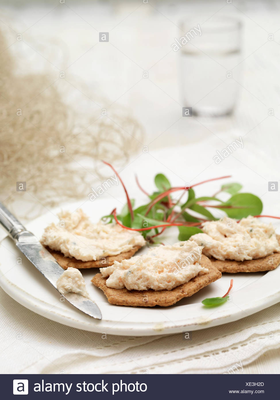 Snack of Scottish poached salmon terrines on savory biscuits chard salad garnish - Stock Image