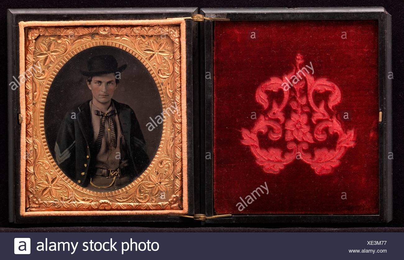 Union Sergent John Emery. Artist: Unknown (American); Date: 1861-65; Medium: Tintype; Dimensions: Plate: 8.9 x 6.4 cm (3 1/2 x 2 1/2 in.); - Stock Image