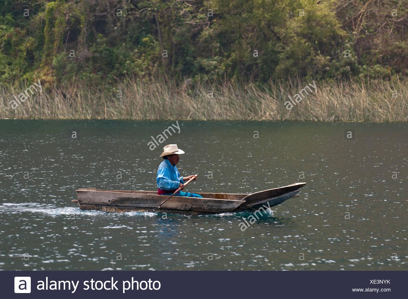 Fisherman on Lago de Atitlan lake, Guatemala, Central America - Stock Image