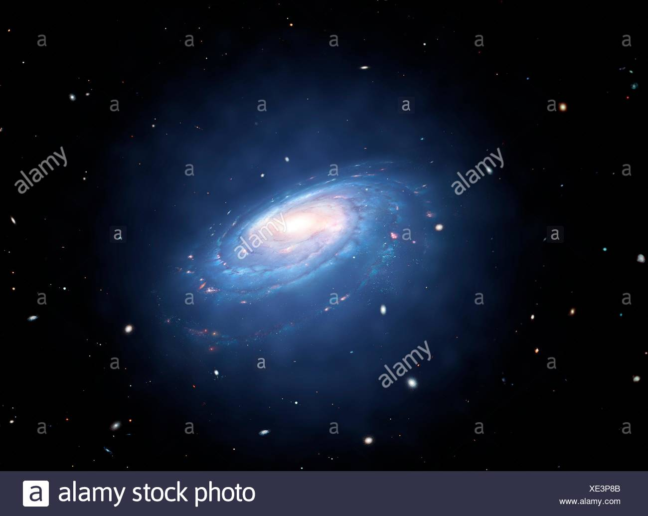 Galaxy and associated dark matter halo. A dark matter halo is a supposed galaxy component that enshrouds the galactic disc and extends well beyond the edge of the visible galaxy. Its mass dominates the total mass of the galaxy system. Purportedly consisting of dark matter, halos cannot be observed directly, but their existence is inferred through their effects on the motions of stars and gas in galaxies. - Stock Image