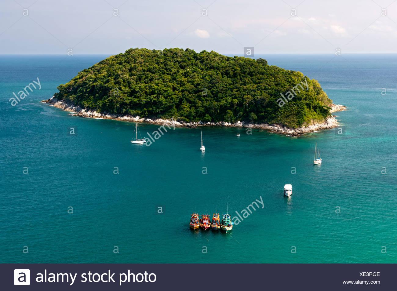 Ko Man or Mun Island off the southern coast of the island of Phuket, Thailand, Asia - Stock Image