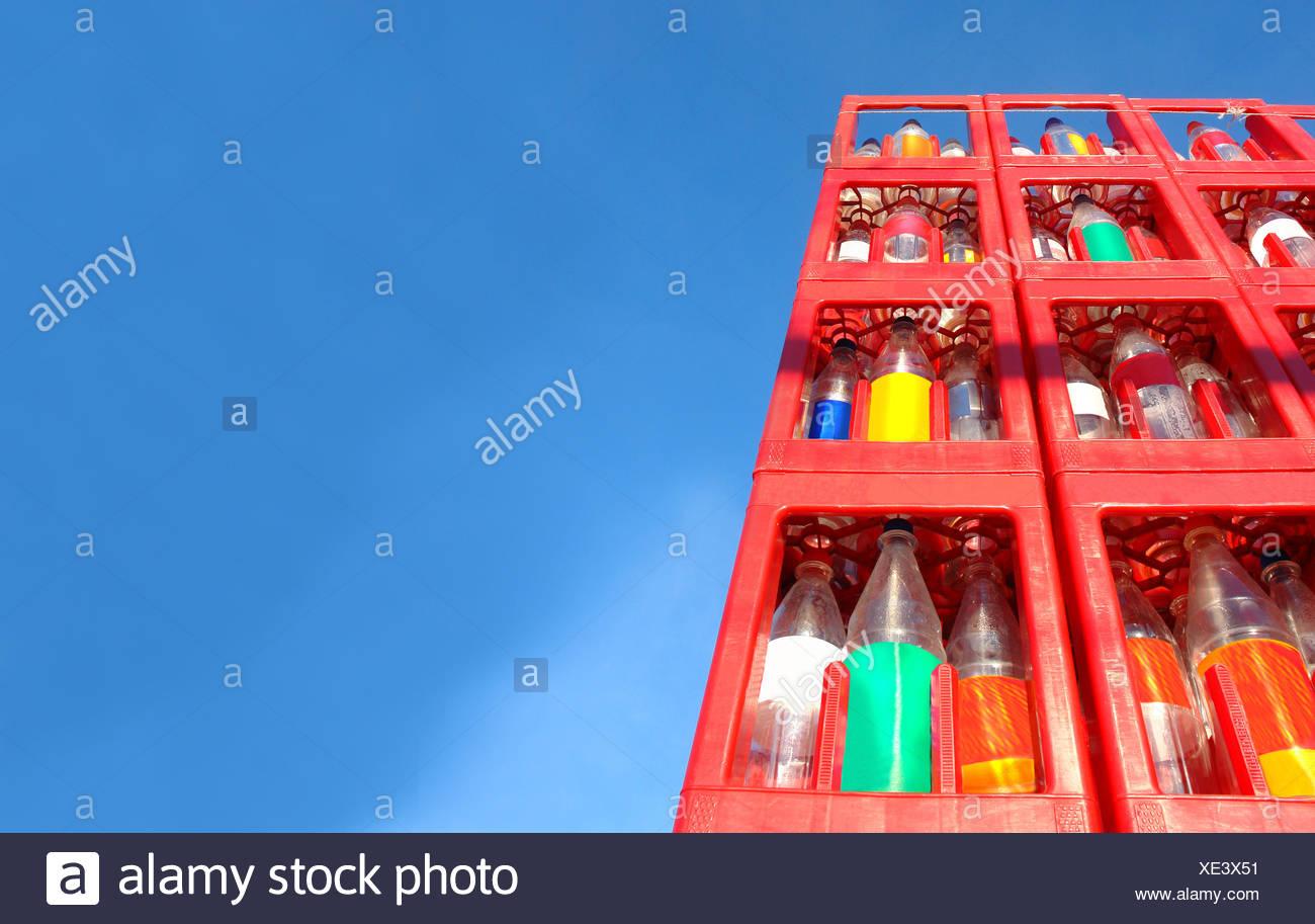 pet returnable bottles Stock Photo